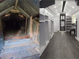 Husband Transforms Scary Attic into Wife's Dream Closet