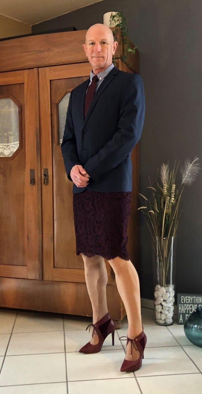 Man who wears heels at work