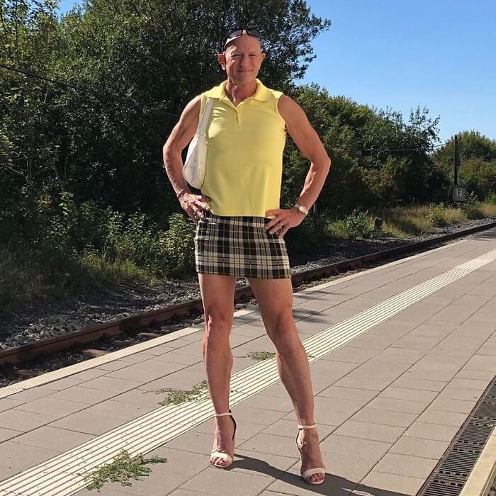 Mark Bryan in skirt and heels